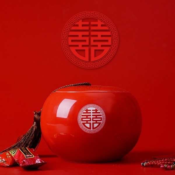 Red Ceramic Jar, 'Double Happiness' Character Engraved