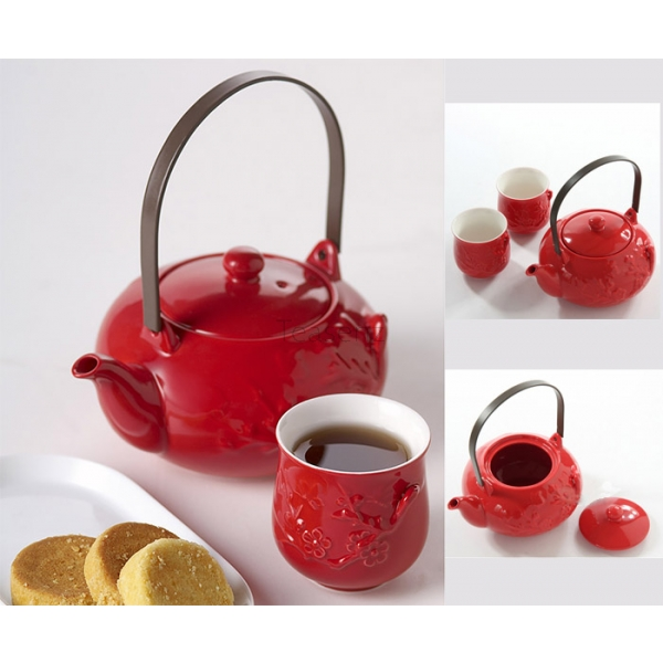 "Set da Tè ""Red Passion"" in New Bone China Porcellana Cinese con 4 Tazze (625 ml)"