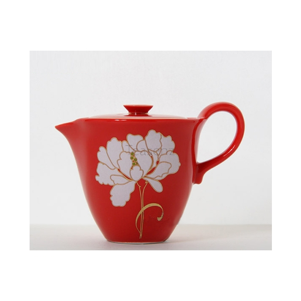 """Peonia"" Set da Tè Gongfu in Porcellana Rossa"